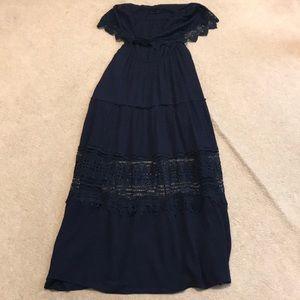 Lulumari navy dress w crochet